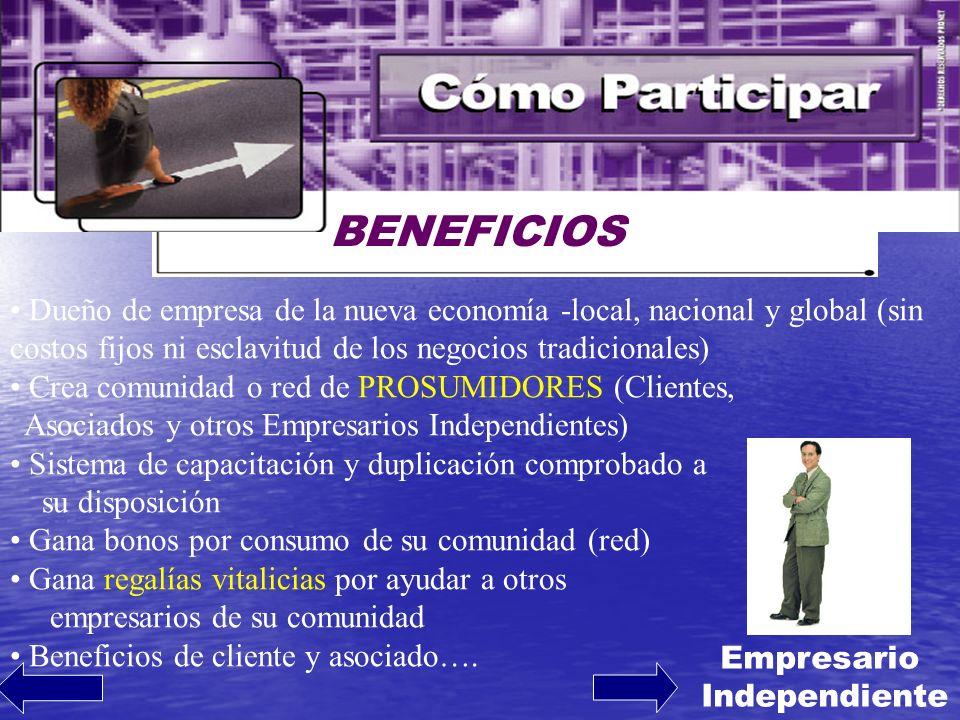 BENEFICIOS Dueño de empresa de la nueva economía -local, nacional y global (sin costos fijos ni esclavitud de los negocios tradicionales) Crea comunid