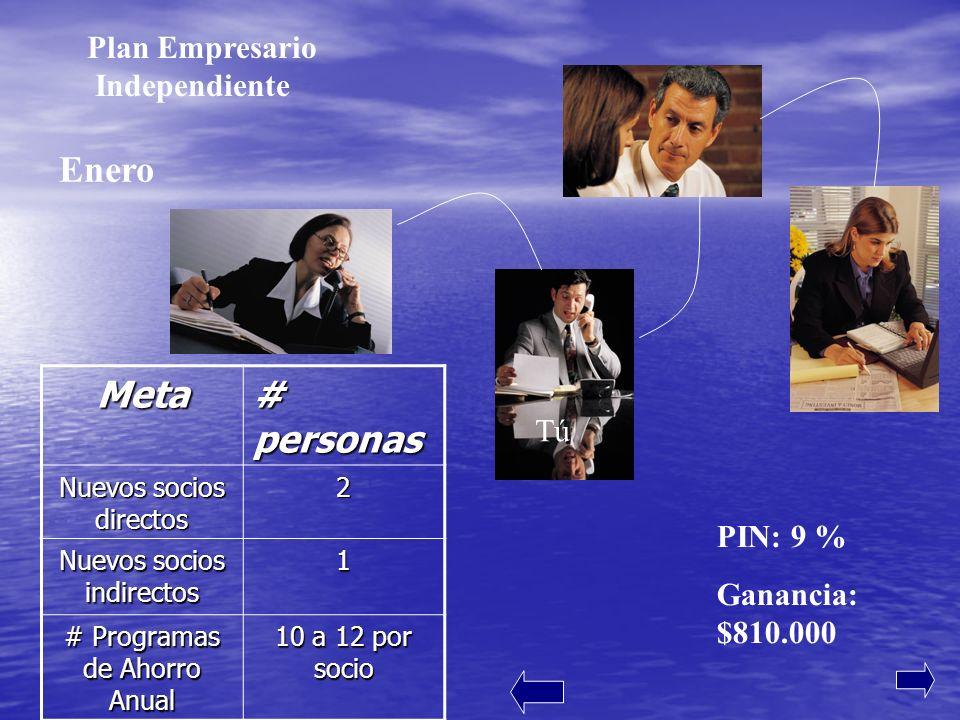 PIN: 15 % Ganancia: $1900.000 FebreroMeta # personas Nuevos socios frontales (directos) 2 Nuevos socios en profundidad 5 # Programas de Ahorro Anual nuevos 10 a 12 por socio Tú