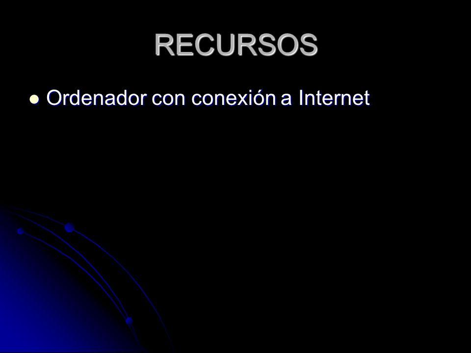 RECURSOS Ordenador con conexión a Internet Ordenador con conexión a Internet