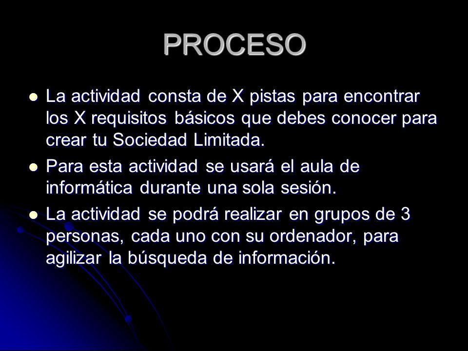 PROCESO La actividad consta de X pistas para encontrar los X requisitos básicos que debes conocer para crear tu Sociedad Limitada.