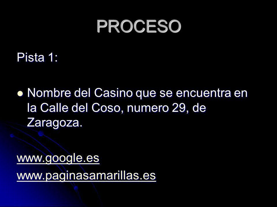 PROCESO Pista 1: Nombre del Casino que se encuentra en la Calle del Coso, numero 29, de Zaragoza.