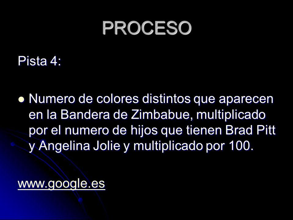 PROCESO Pista 4: Numero de colores distintos que aparecen en la Bandera de Zimbabue, multiplicado por el numero de hijos que tienen Brad Pitt y Angelina Jolie y multiplicado por 100.