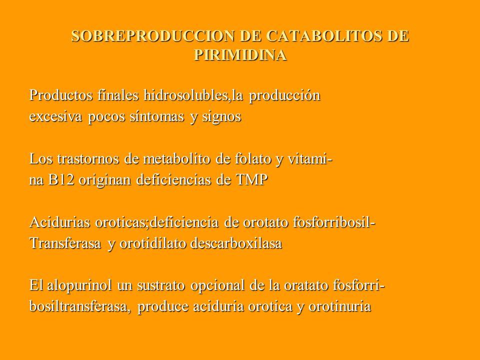 SOBREPRODUCCION DE CATABOLITOS DE PIRIMIDINA Productos finales hidrosolubles,la producción excesiva pocos síntomas y signos Los trastornos de metabolito de folato y vitami- na B12 originan deficiencias de TMP Acidurias oroticas;deficiencia de orotato fosforribosil- Transferasa y orotidilato descarboxilasa El alopurinol un sustrato opcional de la oratato fosforri- bosiltransferasa, produce aciduria orotica y orotinuria