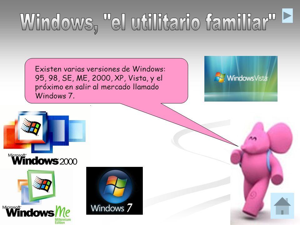 Existen varias versiones de Windows: 95, 98, SE, ME, 2000, XP, Vista, y el próximo en salir al mercado llamado Windows 7.