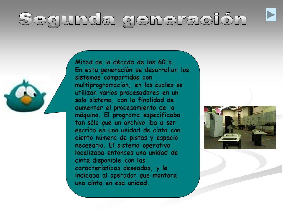 Mitad de la década de los 60's. En esta generación se desarrollan los sistemas compartidos con multiprogramación, en los cuales se utilizan varios pro