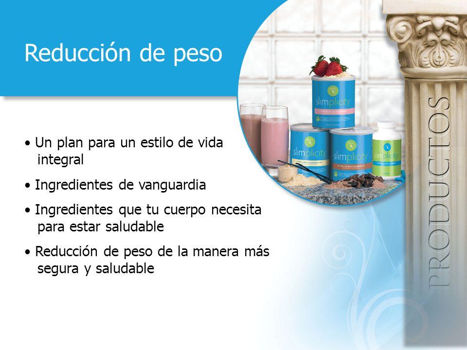 Reducción de peso Un plan para un estilo de vida integral Ingredientes de vanguardia Ingredientes que tu cuerpo necesita para estar saludable Reducción de peso de la manera más segura y saludable