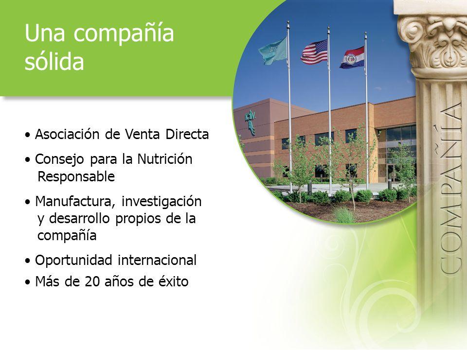 Una compañía sólida Asociación de Venta Directa Consejo para la Nutrición Responsable Manufactura, investigación y desarrollo propios de la compañía Oportunidad internacional Más de 20 años de éxito