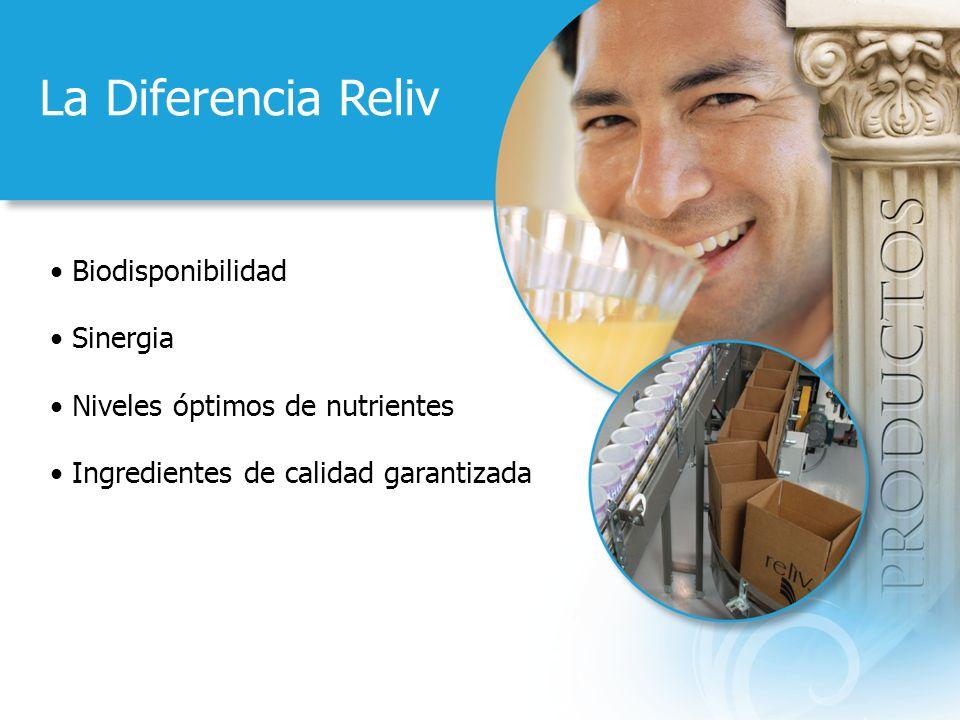 La Diferencia Reliv Biodisponibilidad Sinergia Niveles óptimos de nutrientes Ingredientes de calidad garantizada