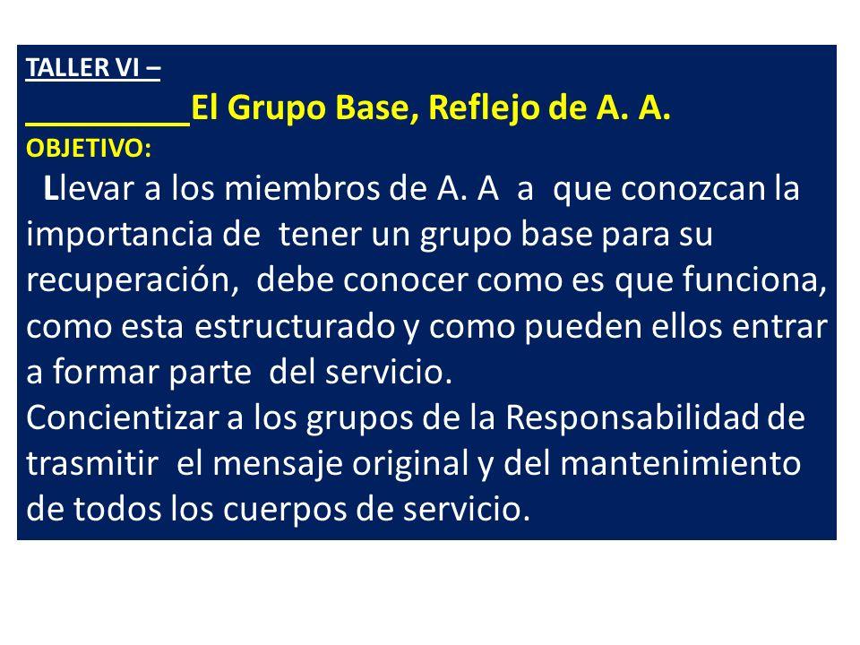 TALLER VI – El Grupo Base, Reflejo de A.A. OBJETIVO: Llevar a los miembros de A.
