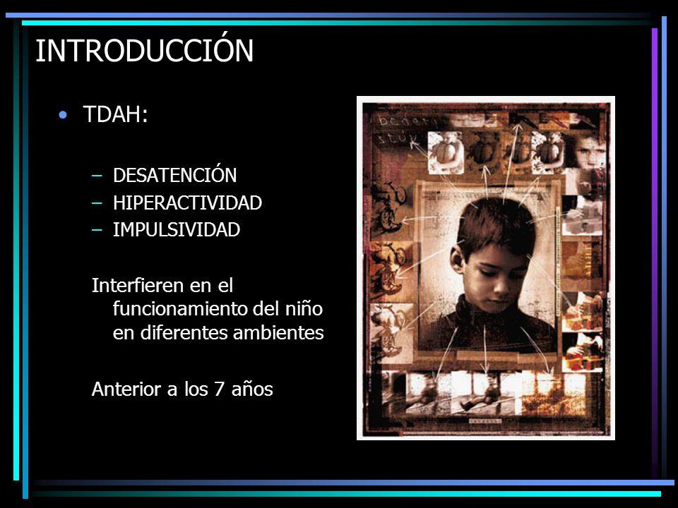 INTRODUCCIÓN TDAH: –DESATENCIÓN –HIPERACTIVIDAD –IMPULSIVIDAD Interfieren en el funcionamiento del niño en diferentes ambientes Anterior a los 7 años