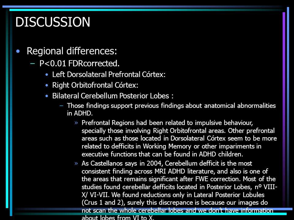 DISCUSSION Regional differences: –P<0.01 FDRcorrected. Left Dorsolateral Prefrontal Córtex: Right Orbitofrontal Córtex: Bilateral Cerebellum Posterior