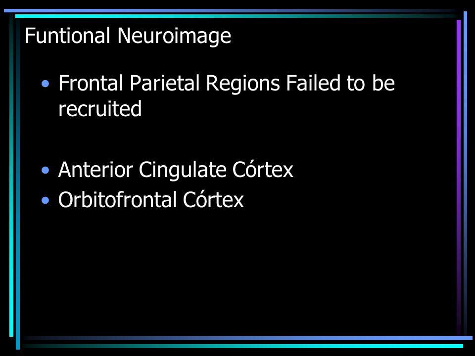 Funtional Neuroimage Frontal Parietal Regions Failed to be recruited Anterior Cingulate Córtex Orbitofrontal Córtex