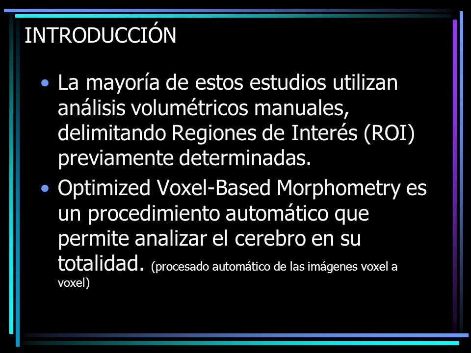 INTRODUCCIÓN La mayoría de estos estudios utilizan análisis volumétricos manuales, delimitando Regiones de Interés (ROI) previamente determinadas. Opt