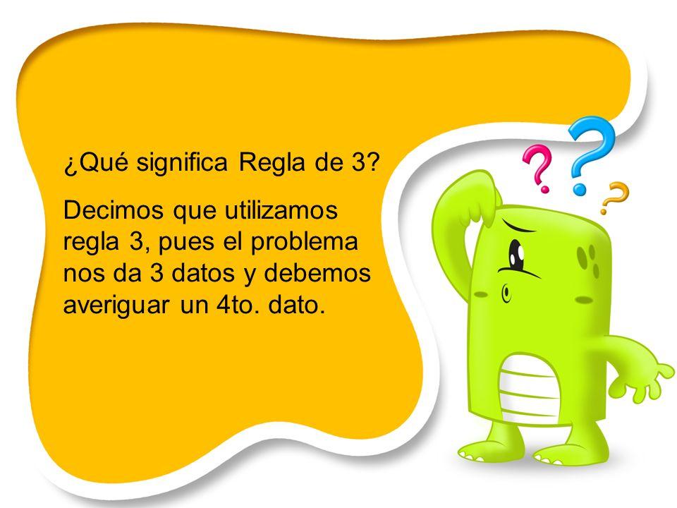 ¿Qué significa Regla de 3? Decimos que utilizamos regla 3, pues el problema nos da 3 datos y debemos averiguar un 4to. dato.