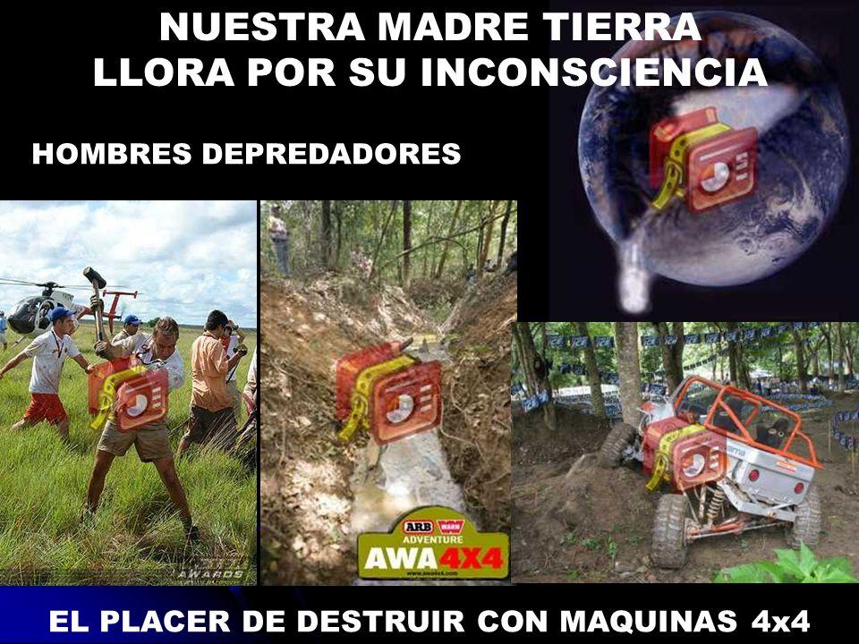 EL PLACER DE DESTRUIR CON MAQUINAS 4x4 HOMBRES DEPREDADORES NUESTRA MADRE TIERRA LLORA POR SU INCONSCIENCIA