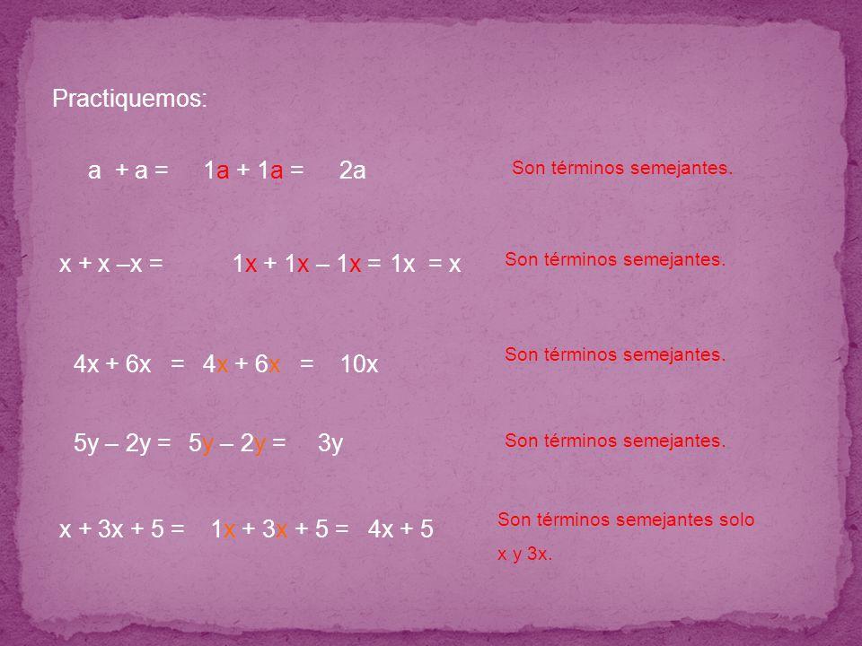 Practiquemos: a + a = 5y – 2y = x + x –x = 4x + 6x = x + 3x + 5 = Son términos semejantes. 1a 1a + 1a 1a = 2a 1x 1x + 1x 1x – 1x 1x =1x = x Son términ