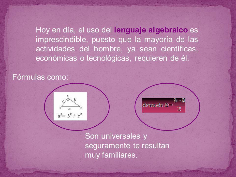 Hoy en día, el uso del lenguaje algebraico es imprescindible, puesto que la mayoría de las actividades del hombre, ya sean científicas, económicas o t