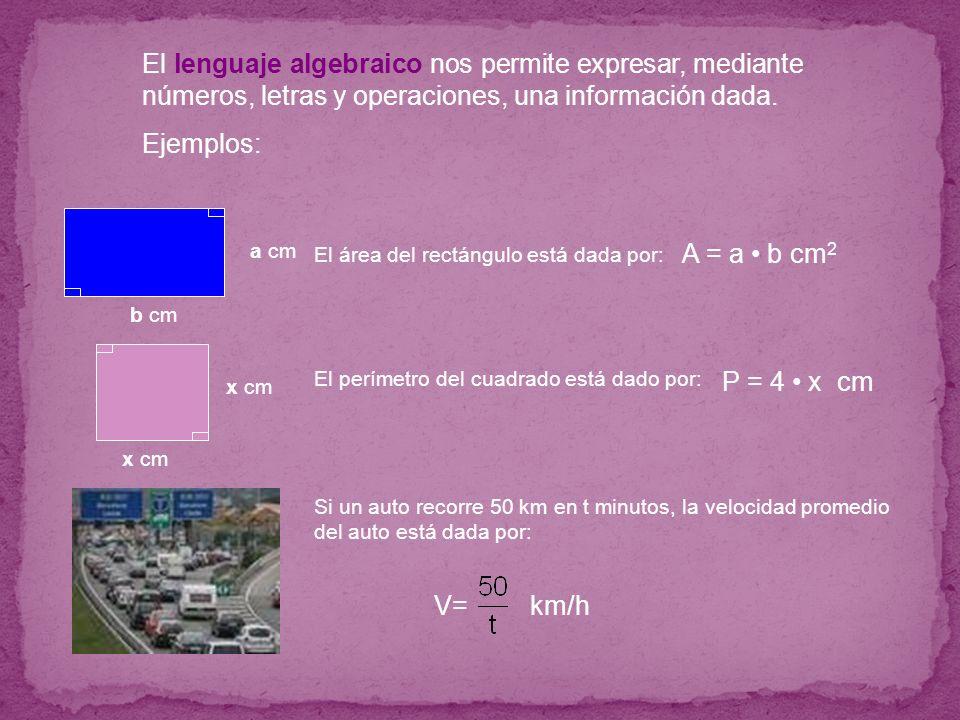 El lenguaje algebraico nos permite expresar, mediante números, letras y operaciones, una información dada. Ejemplos: El área del rectángulo está dada