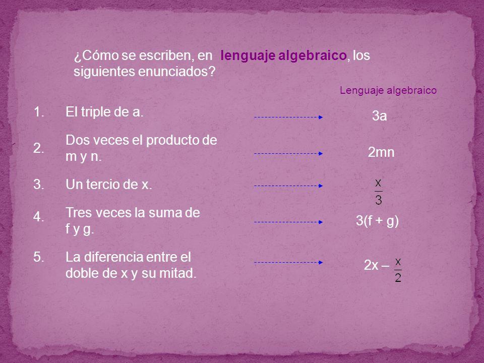 ¿Cómo se escriben, en lenguaje algebraico, los siguientes enunciados? La diferencia entre el doble de x y su mitad. 2x – Dos veces el producto de m y