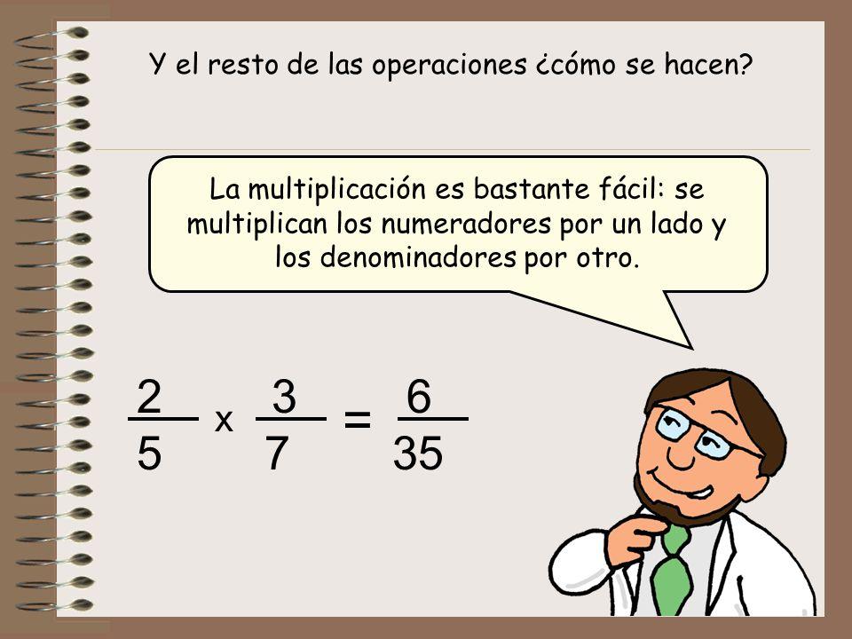 Y el resto de las operaciones ¿cómo se hacen? La multiplicación es bastante fácil: se multiplican los numeradores por un lado y los denominadores por