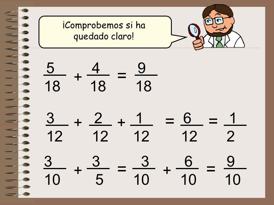 ¡Comprobemos si ha quedado claro! + 5 18 4 = 9 + 3 12 2 = 6 1 + = 1 2 + 3 10 3 5 = + 3 6 = 9