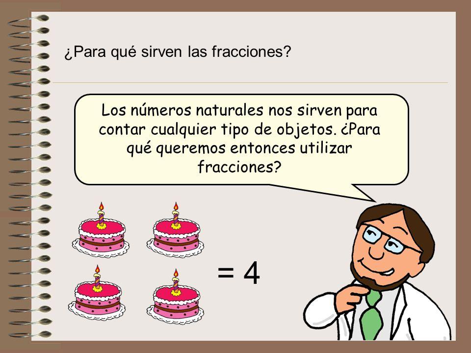 ¿Para qué sirven las fracciones? Los números naturales nos sirven para contar cualquier tipo de objetos. ¿Para qué queremos entonces utilizar fraccion