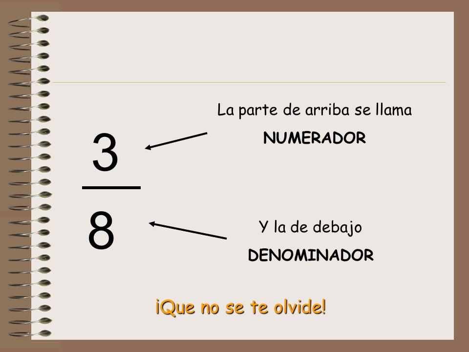 3 8 La parte de arriba se llama NUMERADOR Y la de debajo DENOMINADOR ¡Que no se te olvide!