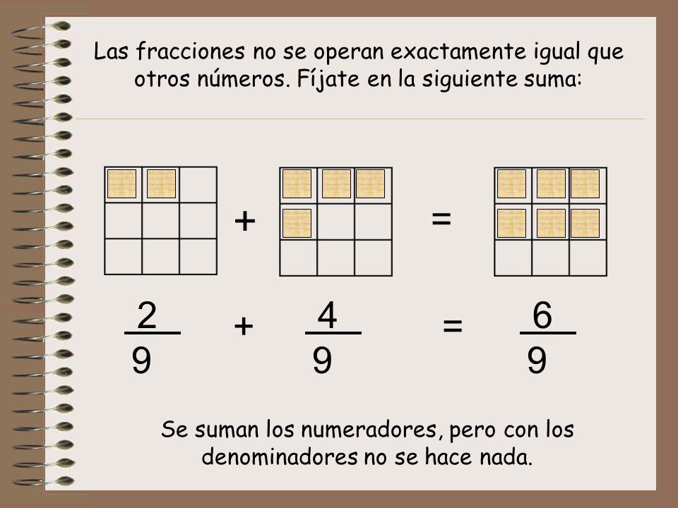 Las fracciones no se operan exactamente igual que otros números. Fíjate en la siguiente suma: = + + 2 9 4 9 6 9 = Se suman los numeradores, pero con l