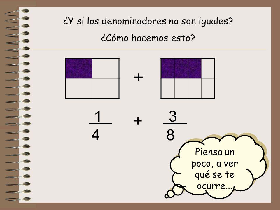 ¿Y si los denominadores no son iguales? ¿Cómo hacemos esto? + + 1 4 3 8 Piensa un poco, a ver qué se te ocurre...
