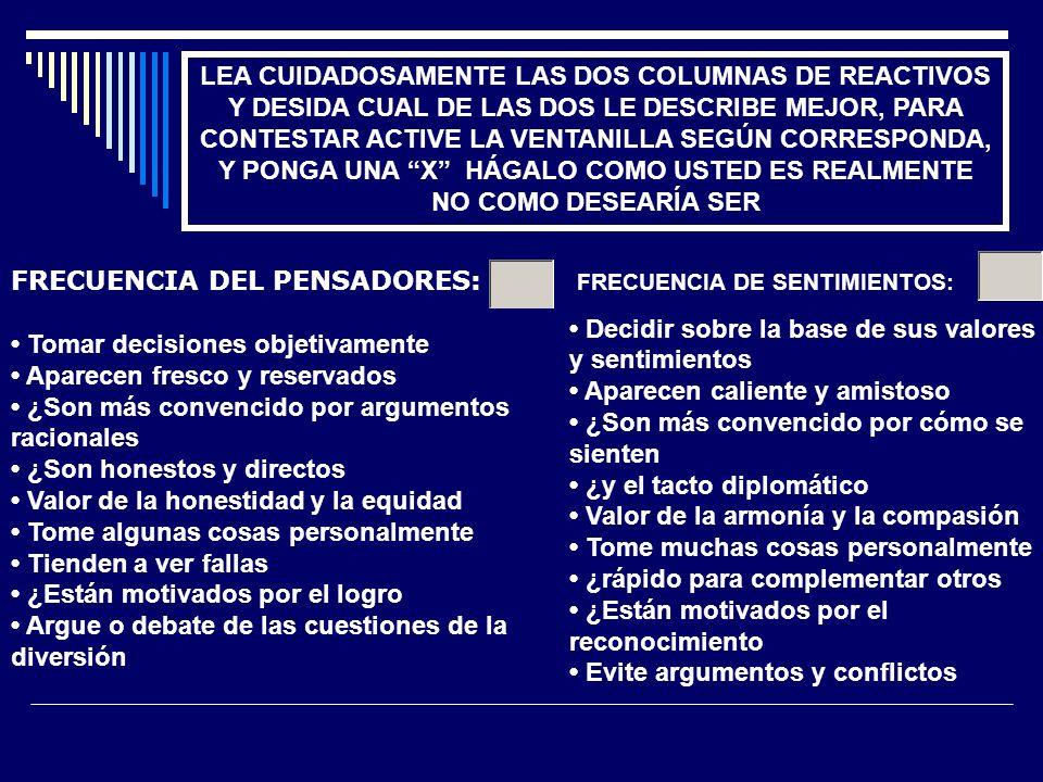 LEA CUIDADOSAMENTE LAS DOS COLUMNAS DE REACTIVOS Y DESIDA CUAL DE LAS DOS LE DESCRIBE MEJOR, PARA CONTESTAR ACTIVE LA VENTANILLA SEGÚN CORRESPONDA, Y