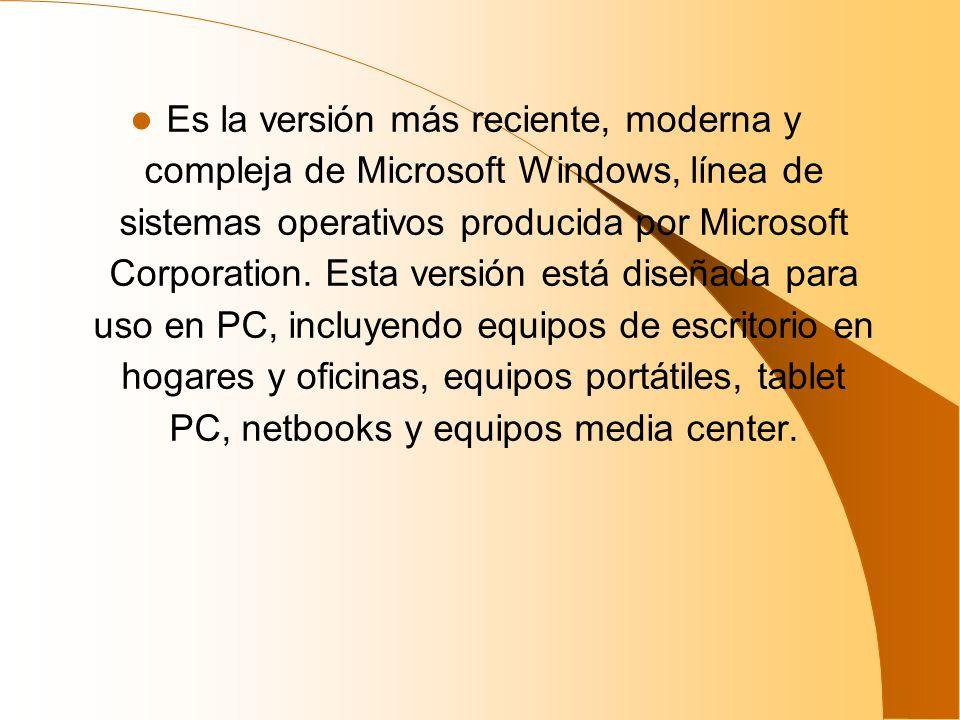 Es la versión más reciente, moderna y compleja de Microsoft Windows, línea de sistemas operativos producida por Microsoft Corporation. Esta versión es