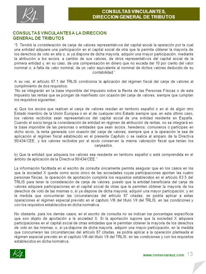 12 CONSULTAS VINCULANTES, DIRECCION GENERAL DE TRIBUTOS www.romeroarauz.com CONSULTAS VINCULANTES A LA DIRECCION GENERAL DE TRIBUTOS NUM-CONSULTA V3093-11 ORGANO SG de Impuestos sobre las Personas Jurídicas FECHA-SALIDA 30/12/2011 NORMATIVA TRLIS RDLeg 4/2004 arts.