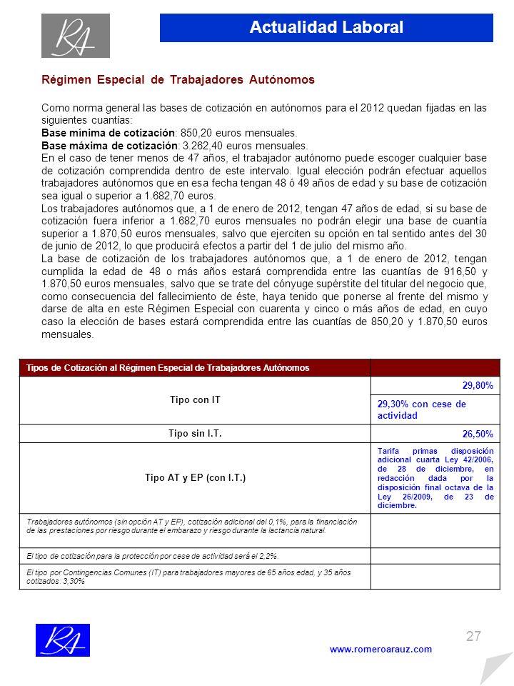 26 www.romeroarauz.com Actualidad Laboral NOVEDADES SOCIALES PARA 2012 (viene de la página 8) Bases y Tipos de Cotización a la Seguridad Social, desempleo, FOGASA y Formación Profesional.