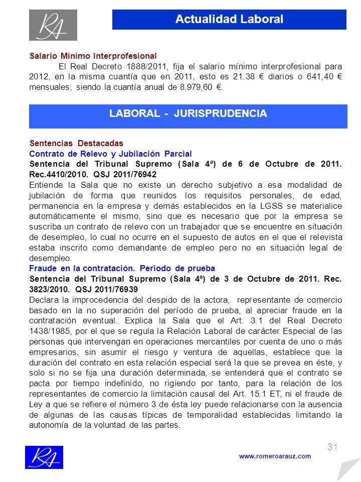 30 www.romeroarauz.com Actualidad Laboral Régimen Especial de Empleados de Hogar Familiar Régimen Especial de Empleados de Hogar BASETIPO (*)CUOTA 748,20 22%164,60 (*) Servicio exclusivo y permanente: 18,3% (El/la Empleador/a) y 3,7% (El/la Empleado/a de Hogar).
