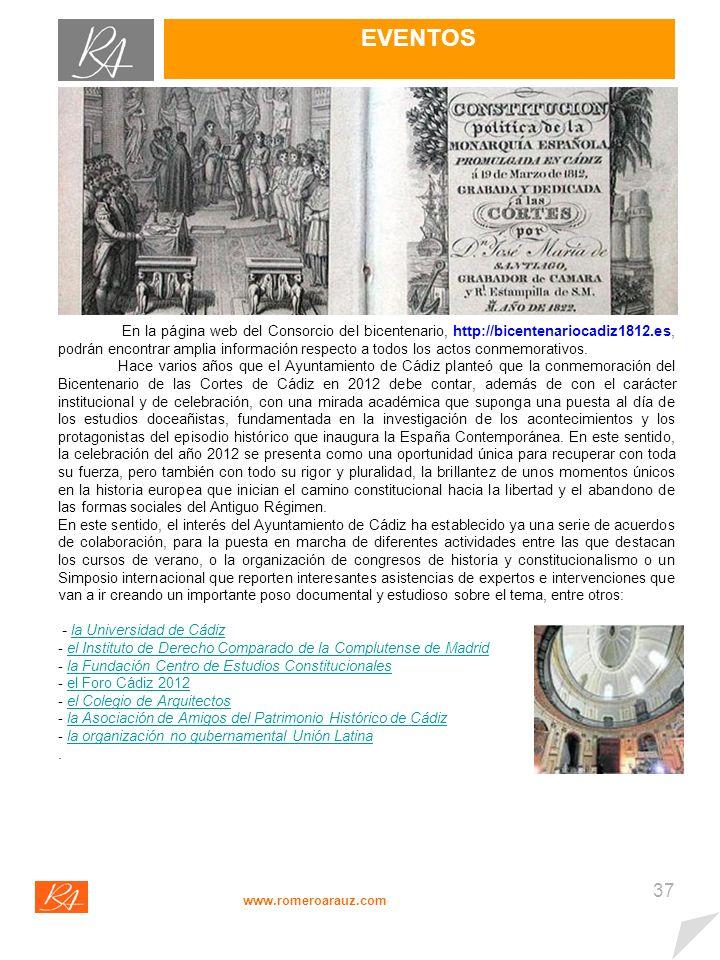 36 EVENTOS www.romeroarauz.com Ejerciendo nuestra actividad en Cádiz, como no podía ser de otro modo, nuestro Boletín Digital se hace eco de una efemérides de la importancia del Bicentenario de nuestra Carta Magna de 1812.