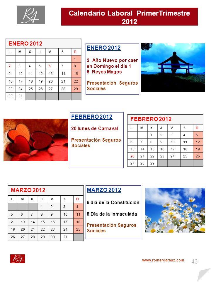 42 Calendario Fiscal Primer Trimestre 2012 http://www.agenciatributaria.es/static_files/AEAT/Contenidos_Comunes/Diversos/Acceso_Directo/A_un_click/Calen_contri_201 2.pdf ENERO 2012 LMXJVSD 1 2345678 9101112131415 16171819202122 23242526272829 3031 ModelosConceptoDía 111,115 y 123I.R.P.F.