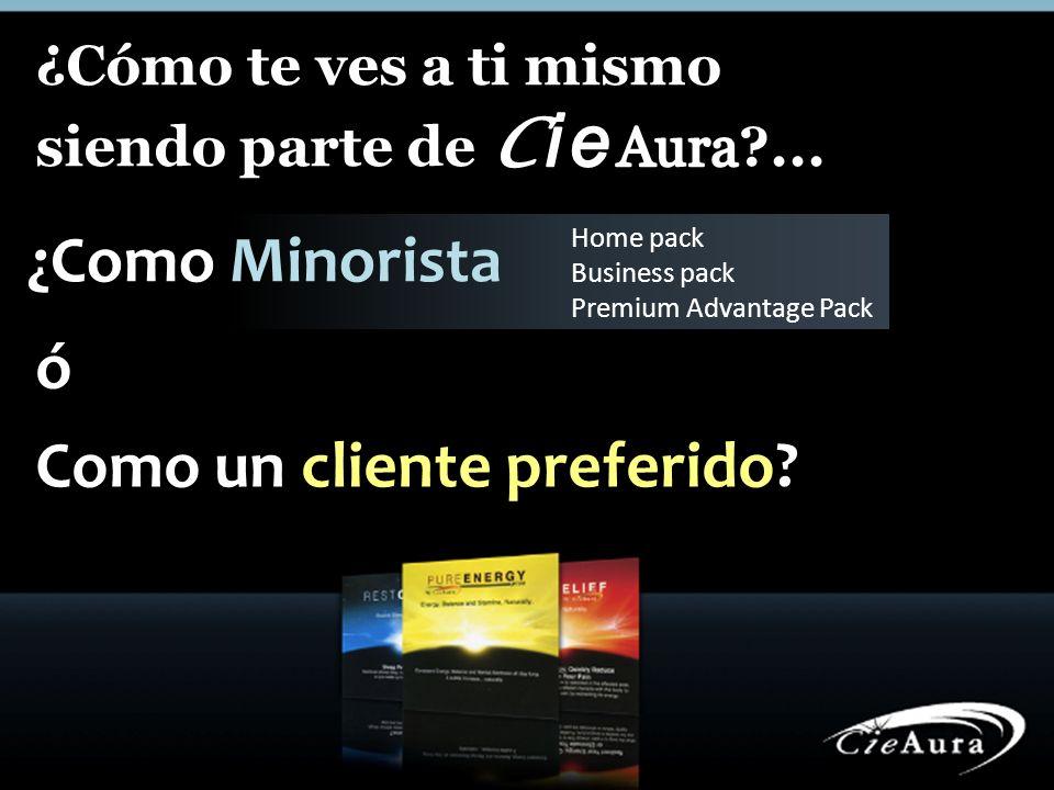 ¿Como Minorista Home pack Business pack Premium Advantage Pack ó Como un cliente preferido?
