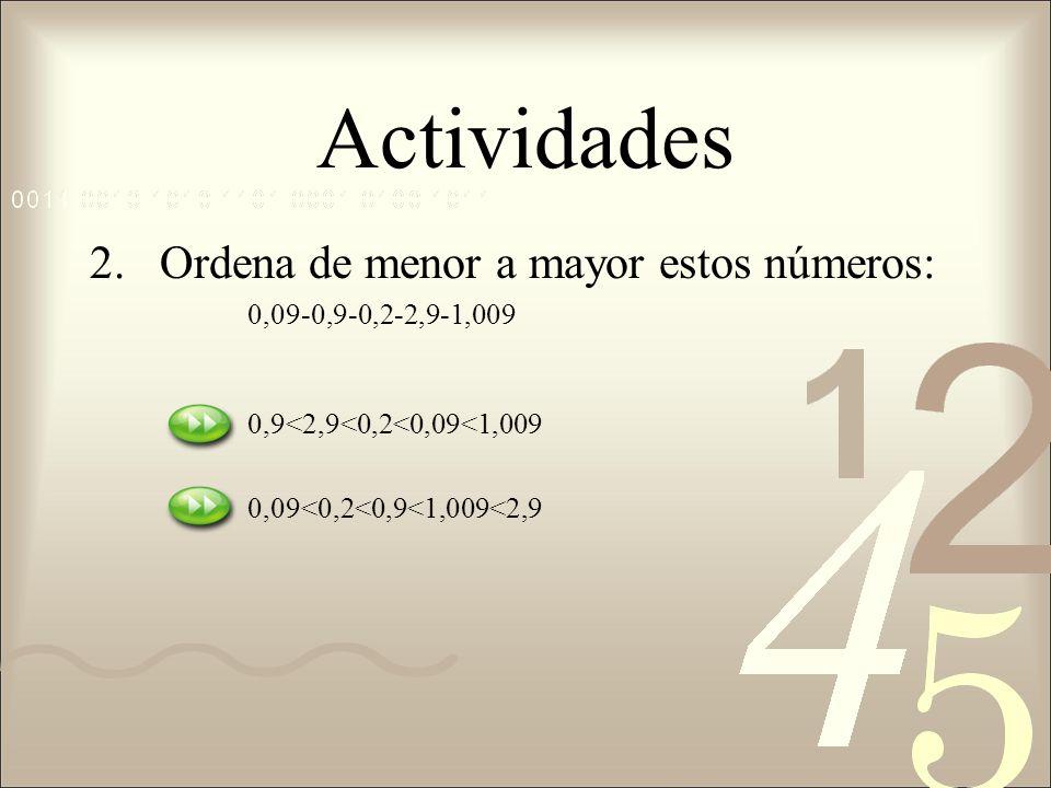 Actividades 2.Ordena de menor a mayor estos números: 0,09-0,9-0,2-2,9-1,009 0,9<2,9<0,2<0,09<1,009 0,09<0,2<0,9<1,009<2,9