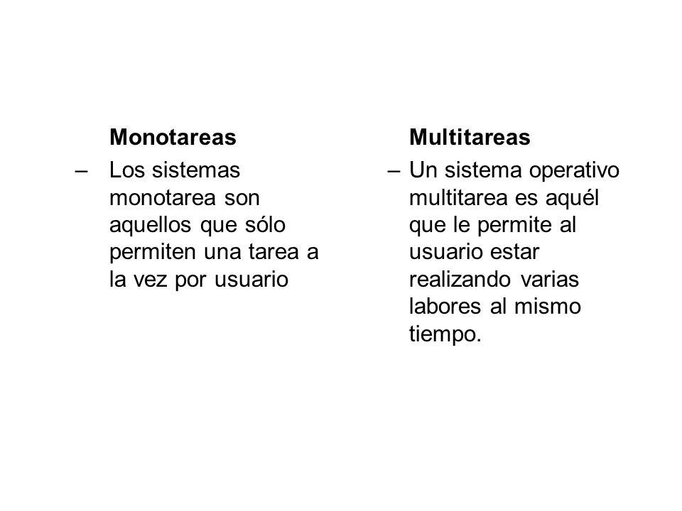 Monotareas –Los sistemas monotarea son aquellos que sólo permiten una tarea a la vez por usuario Multitareas –Un sistema operativo multitarea es aquél