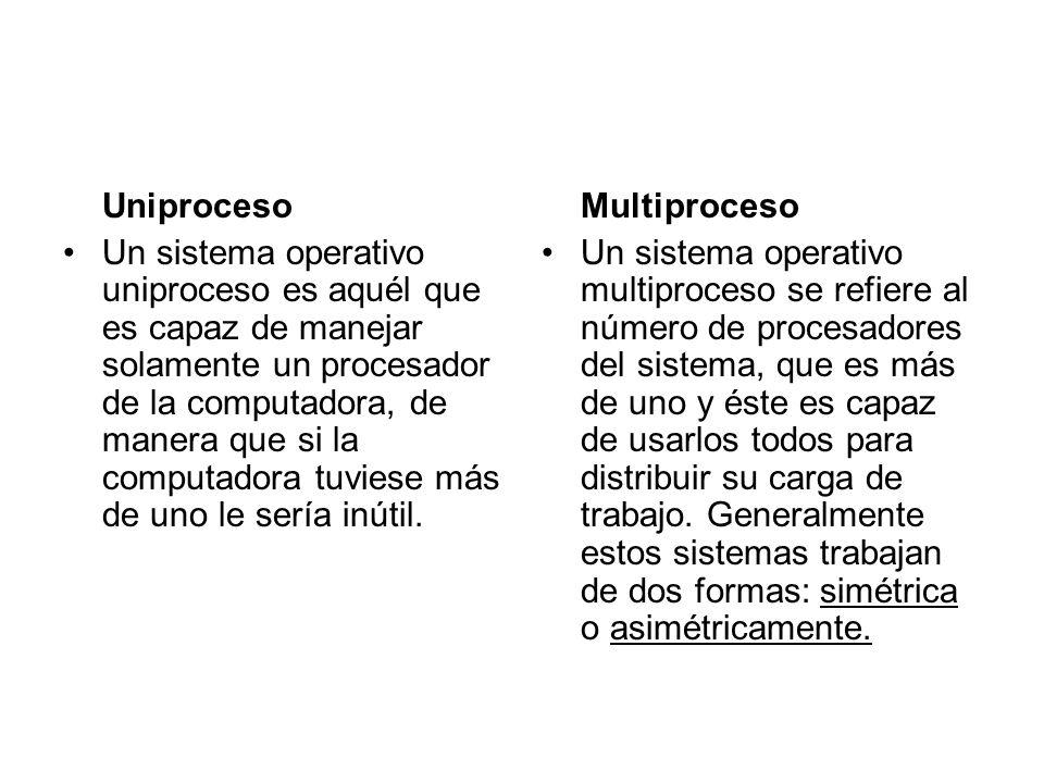 Uniproceso Un sistema operativo uniproceso es aquél que es capaz de manejar solamente un procesador de la computadora, de manera que si la computadora