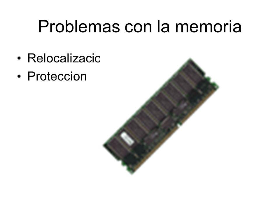 Problemas con la memoria Relocalizacion Proteccion