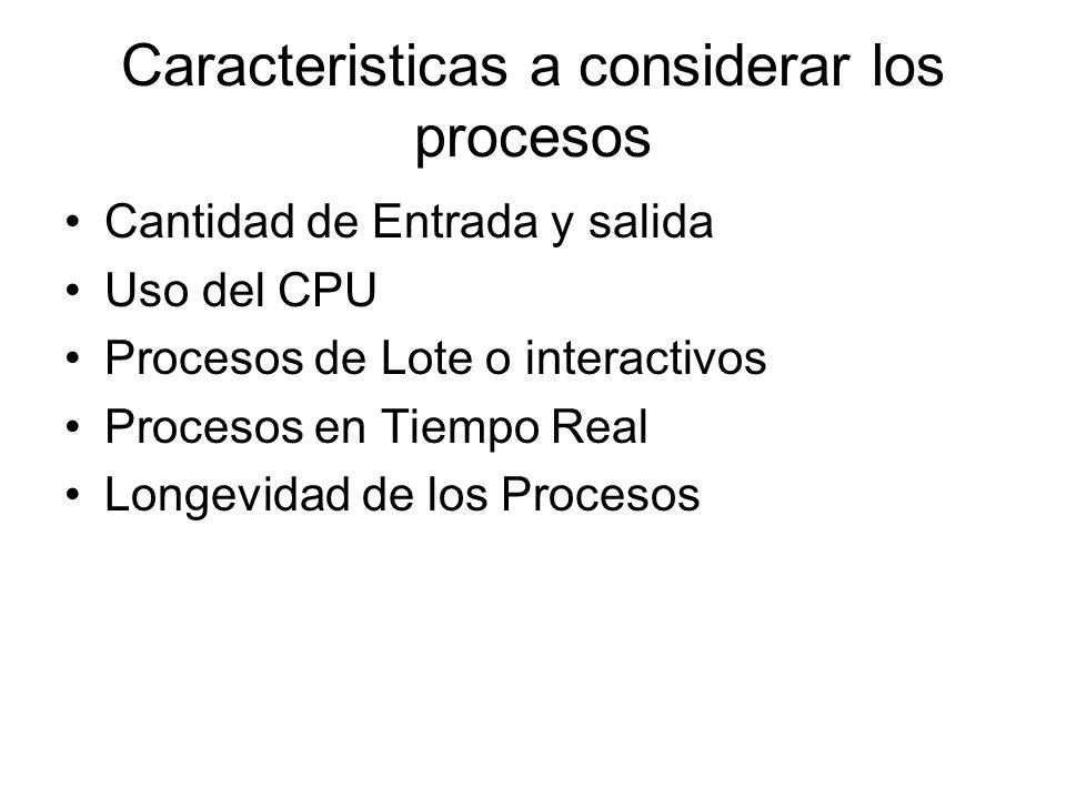 Caracteristicas a considerar los procesos Cantidad de Entrada y salida Uso del CPU Procesos de Lote o interactivos Procesos en Tiempo Real Longevidad