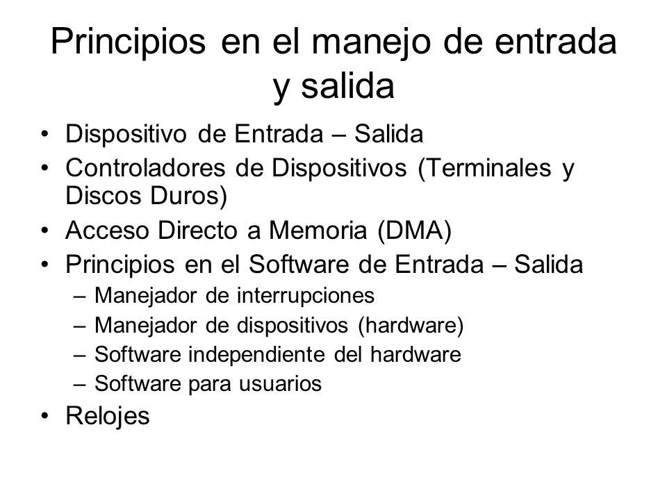 Principios en el manejo de entrada y salida Dispositivo de Entrada – Salida Controladores de Dispositivos (Terminales y Discos Duros) Acceso Directo a