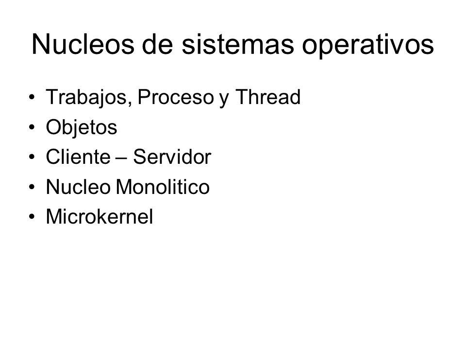 Nucleos de sistemas operativos Trabajos, Proceso y Thread Objetos Cliente – Servidor Nucleo Monolitico Microkernel