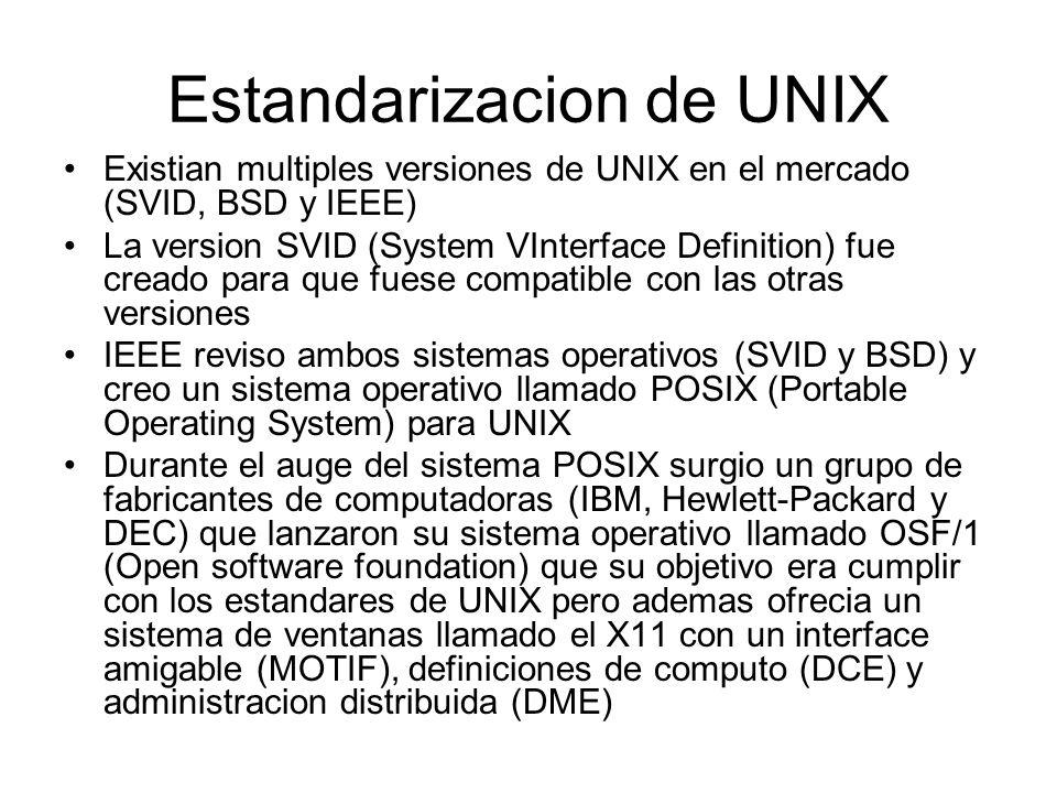 Estandarizacion de UNIX Existian multiples versiones de UNIX en el mercado (SVID, BSD y IEEE) La version SVID (System VInterface Definition) fue cread