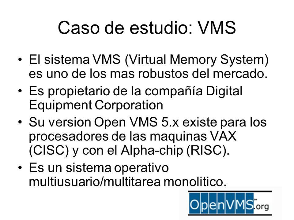 Caso de estudio: VMS El sistema VMS (Virtual Memory System) es uno de los mas robustos del mercado. Es propietario de la compañía Digital Equipment Co