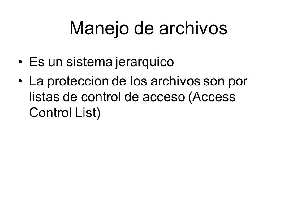 Manejo de archivos Es un sistema jerarquico La proteccion de los archivos son por listas de control de acceso (Access Control List)