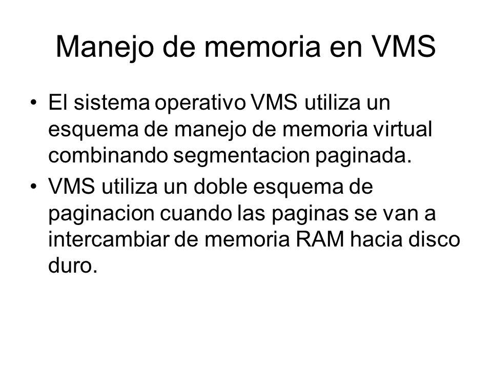 Manejo de memoria en VMS El sistema operativo VMS utiliza un esquema de manejo de memoria virtual combinando segmentacion paginada. VMS utiliza un dob