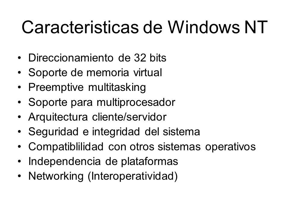 Caracteristicas de Windows NT Direccionamiento de 32 bits Soporte de memoria virtual Preemptive multitasking Soporte para multiprocesador Arquitectura