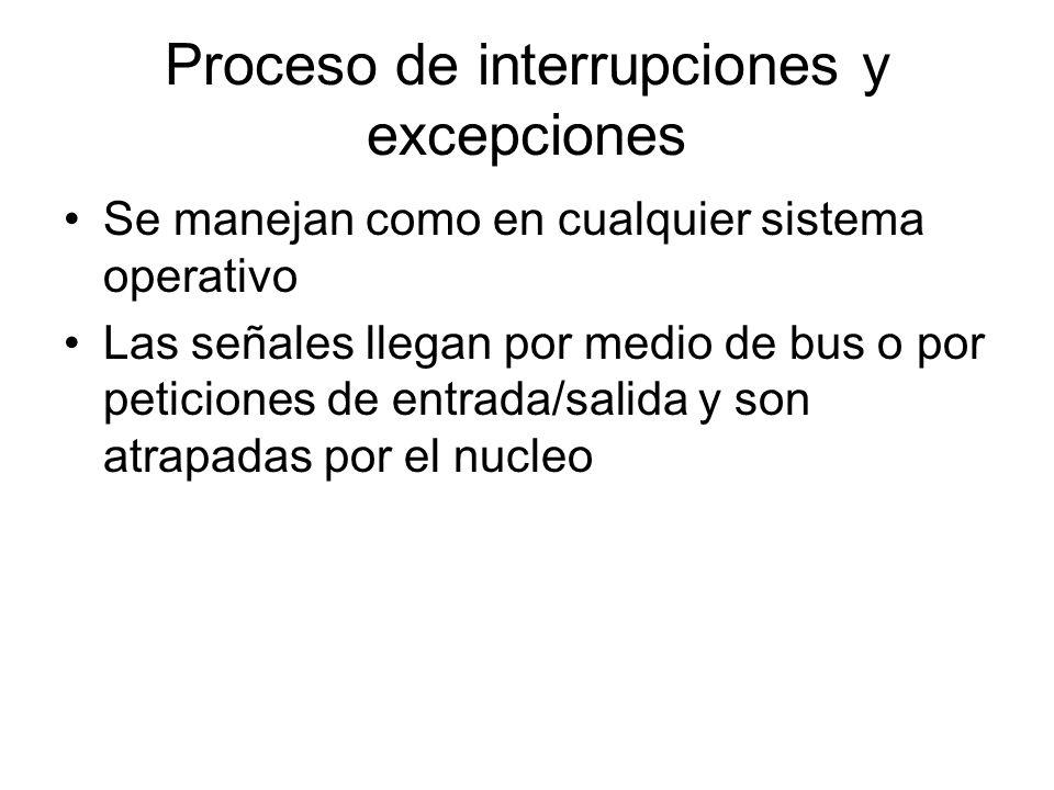 Proceso de interrupciones y excepciones Se manejan como en cualquier sistema operativo Las señales llegan por medio de bus o por peticiones de entrada